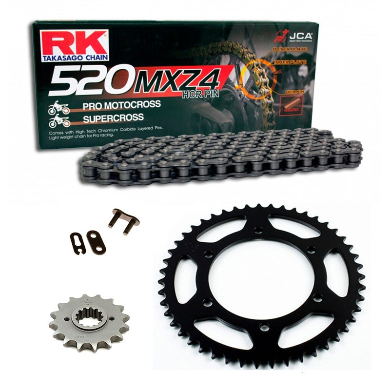 Sprockets & Chain Kit RK 520 MXZ4 Black Steel GAS GAS EC 200 00-02