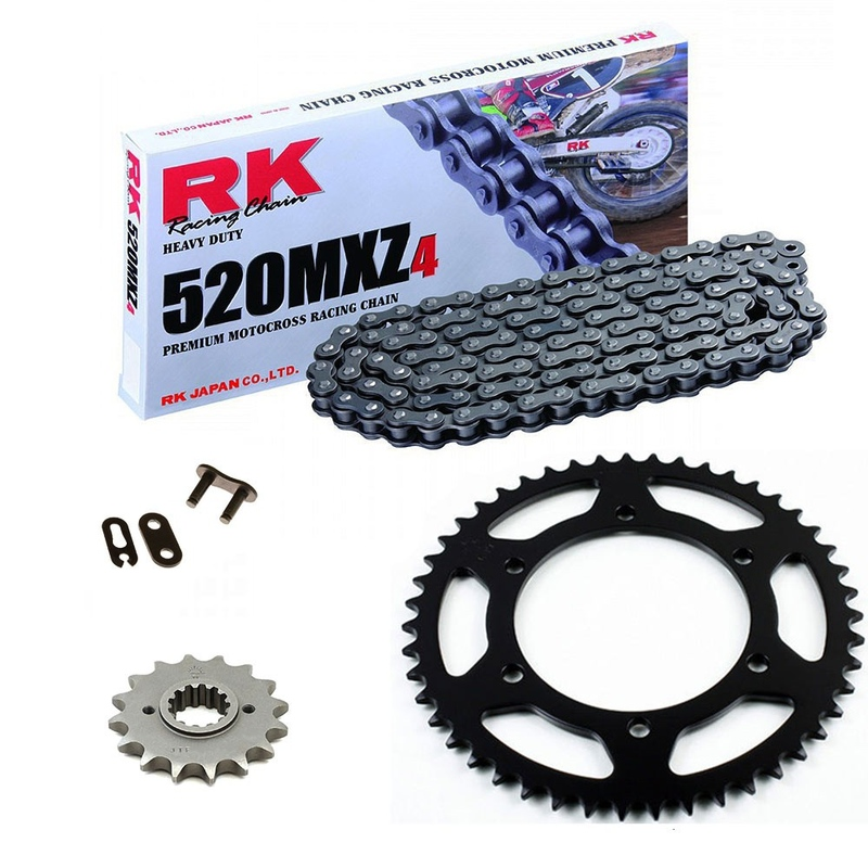 Sprockets & Chain Kit RK 520 MXZ4 Black Steel GAS GAS EC 200 03-15