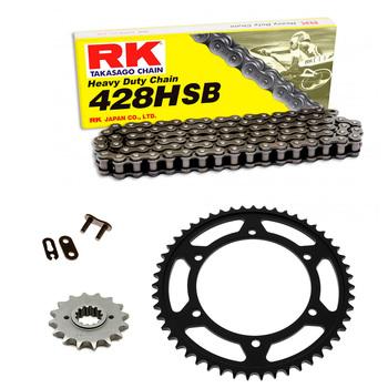Sprockets & Chain Kit RK 428 HSB Black Steel HYOSUNG RT 125 Karion D Citytrail 08-15