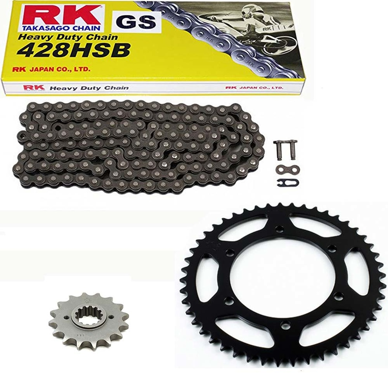 Sprockets & Chain Kit RK 428 HSB Black Steel HYOSUNG RT 125 Karion D Citytrail 08-15