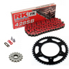 Sprockets & Chain Kit RK 428SB Red HYOSUNG RT 125 Karion D Citytrail 08-15