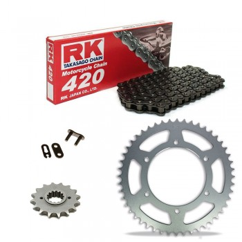 Sprockets & Chain Kit RK 420 Black Steel KAWASAKI AE A 80 81-89