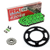 Sprockets & Chain Kit RK 420SB Green RIEJU MRX Pro 50 02-04