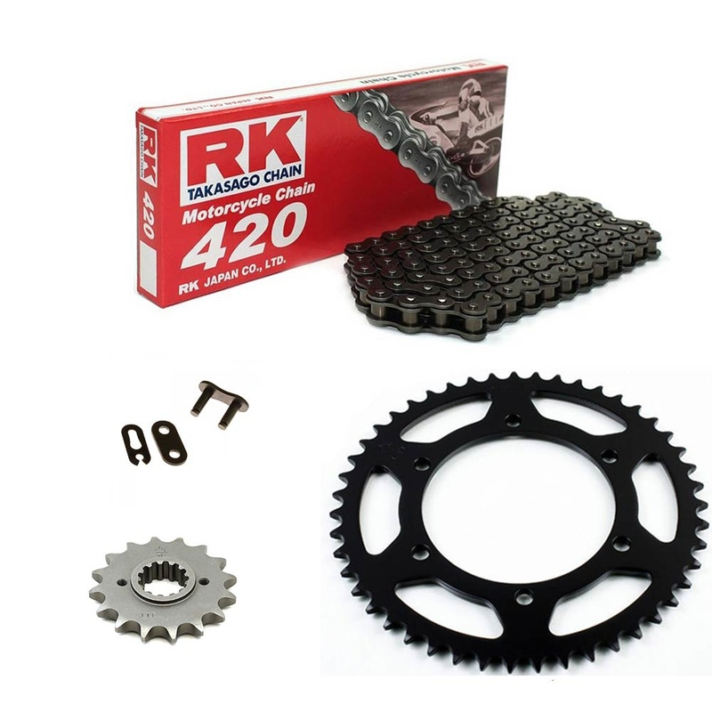 Sprockets & Chain Kit 420 Black Steel RIEJU Naked 50 04-09