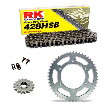 Sprockets & Chain Kit RK 428 HSB Black Steel RIEJU NKD 125 06-08