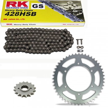 Sprockets & Chain Kit RK 428 HSB Black Steel SUZUKI RV 90 Van Van 73-77