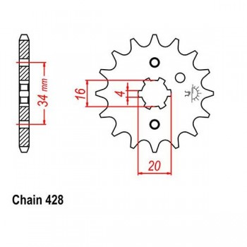 JT 428 CHROMOLY-STEEL FRONT SPROCKET