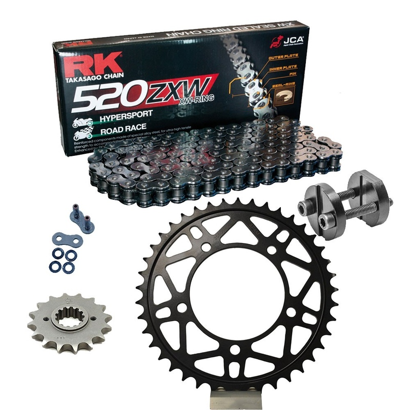 KIT DE ARRASTRE RK 520 ZXW ACERO APRILIA RSV4 1000 RR Conversion 520 Ultralight 16-18 Remachadora Gratis!