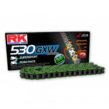 RK CHAIN 530 GXW GREEN WITH XW RING