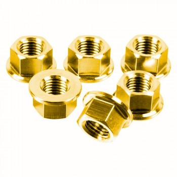 PACK 6 NUTS OF SPROCKET M12X1,25MM GOLD STAINLESS STEEL