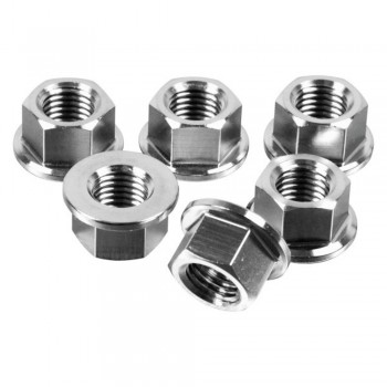 PACK 6 NUTS OF SPROCKET M12X1,25MM SILVER STAINLESS STEEL