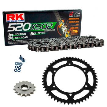 Sprockets & Chain Kit RK 520 XSO Black Steel APRILIA AF1 125 Extrema 93-94