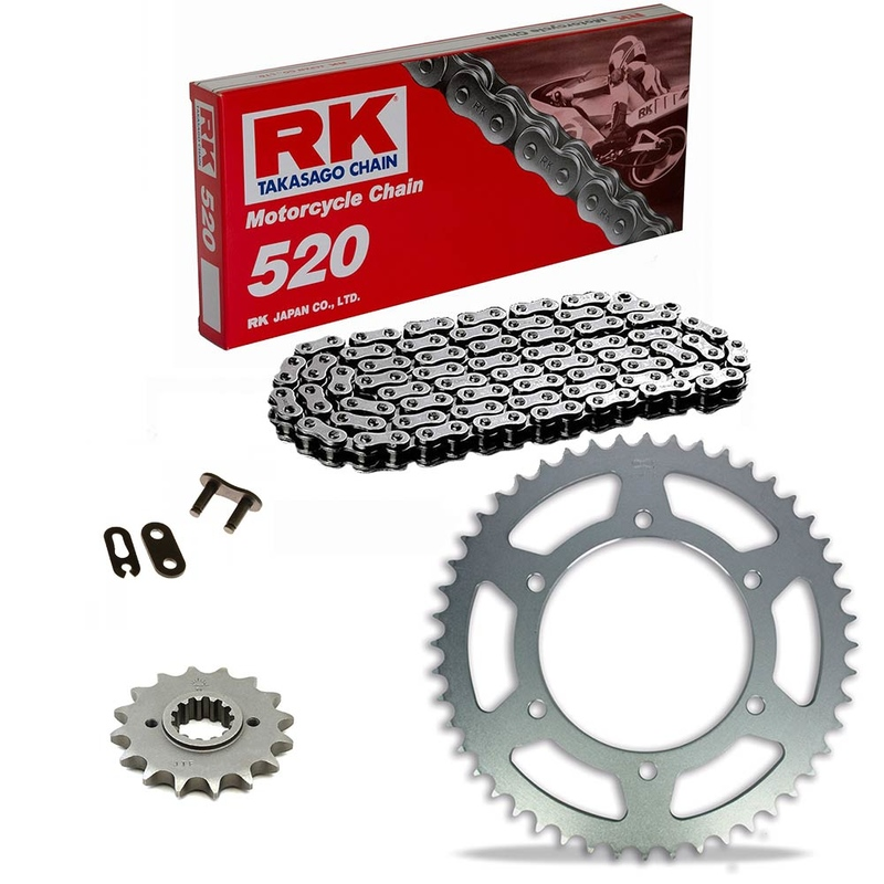 KIT DE ARRASTRE RK 520 Estándar GRIS ACERO APRILIA Red Rose 125 88-90