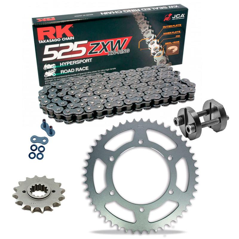 KIT DE ARRASTRE RK 525 ZXW GRIS ACERO APRILIA RSV 1000 R 04-09 Remachadora Gratis!