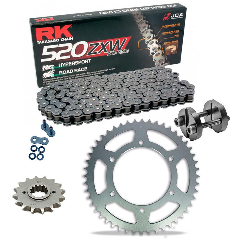 KIT DE ARRASTRE RK 520 ZXW GRIS ACERO APRILIA RSV 1000 R Conversion 520 04-09 Remachadora Gratis!