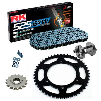 RK Racing Chain 4042-998ZG Silver Aluminum Rear Sprocket and GB520MXZ4 Chain Race Kit Z18-2115