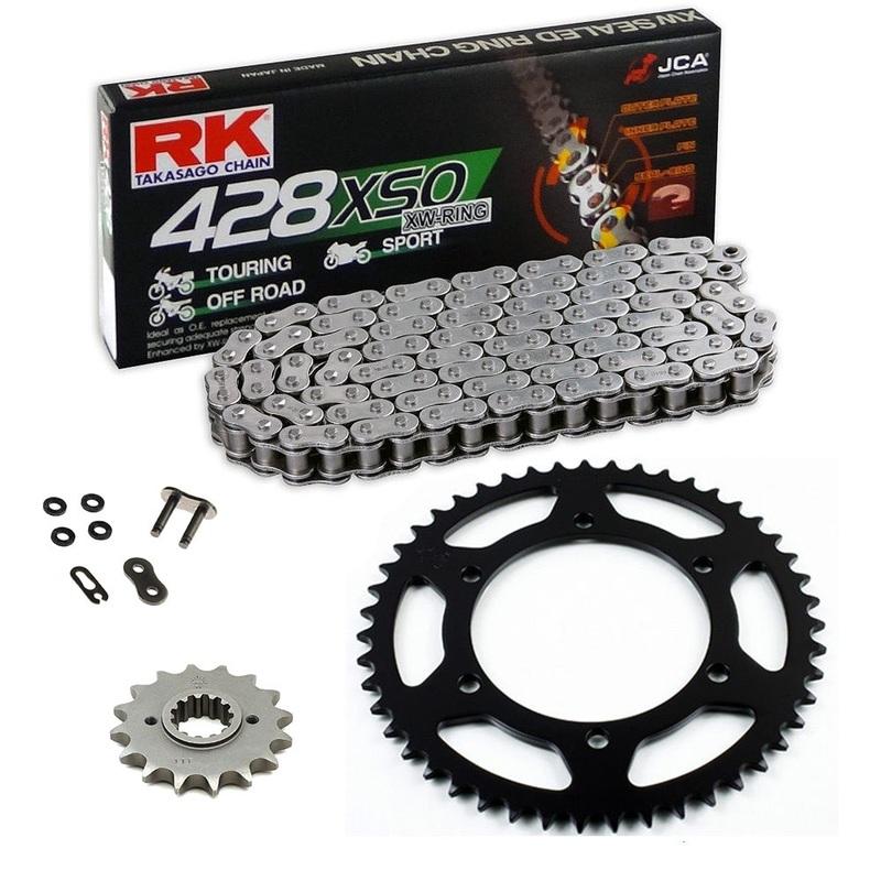 Sprockets & Chain Kit RK 428 XSO Reinforced Black Steel HONDA CG 125 02-05