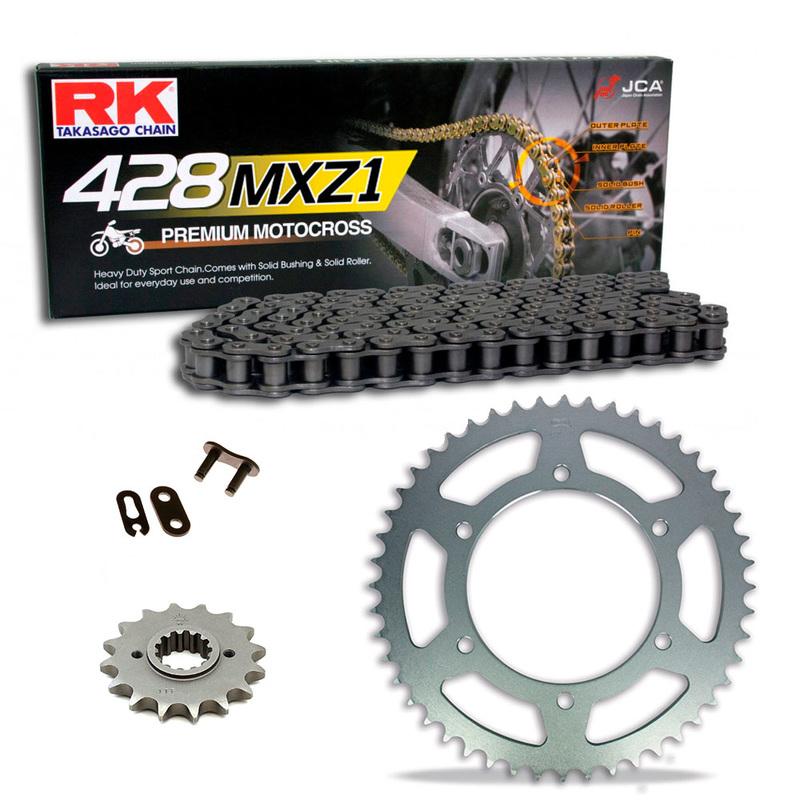 Sprockets & Chain Kit RK 428 MXZ Black Steel HONDA CR 85 03-04