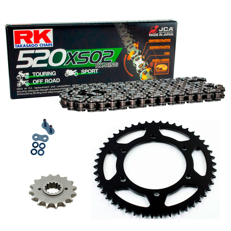 Sprockets & Chain Kit RK 520 XSO Black Steel HONDA CB 200 76-79