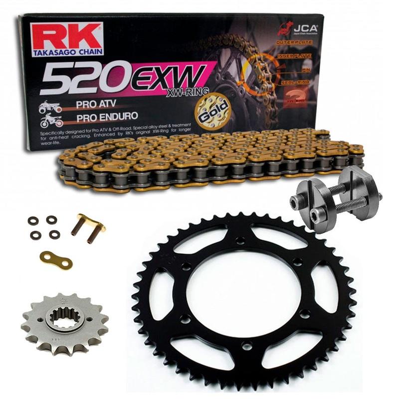 Sprockets & Chain Kit RK 520 EXW Gold HONDA CRF 150 F 03-05 Free Riveter