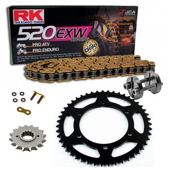 Sprockets & Chain Kit RK 520 EXW Gold HONDA TRX 400 Sportrax 05-08 Free Riveter