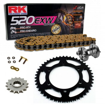KIT DE ARRASTRE RK 520 EXW ORO HONDA TRX 450 R 06-14 Remachadora Gratis