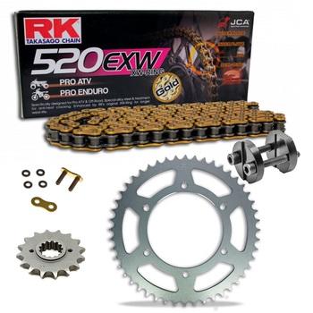 Sprockets & Chain Kit RK 520 EXW Gold HONDA XL 350 85-87 Free Riveter