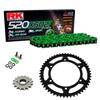 Sprockets & Chain Kit RK 520 XSO Green HONDA XR 200 80-81