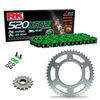 Sprockets & Chain Kit RK 520 XSO Green HONDA XR 250 88-89