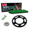 Sprockets & Chain Kit RK 520 XSO Green HONDA XR 250 96-04