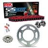 Sprockets & Chain Kit RK 525 GXW Red HONDA CB 400 F 91 Free Riveter!