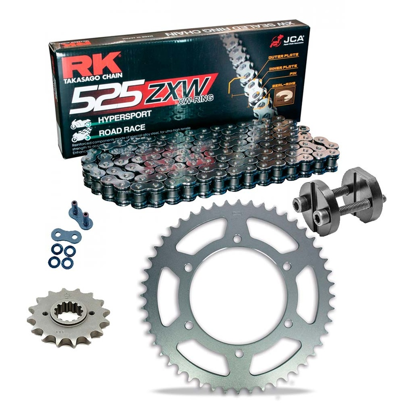 Sprockets & Chain Kit RK 525 ZXW Grey Steel HONDA VFR 400 Pro-Arm 87-89 Free Riveter