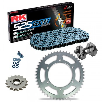 Sprockets & Chain Kit RK 525 GXW Grey Steel HONDA XBR 500 87-88 Free Riveter!