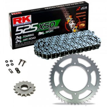 Sprockets & Chain Kit RK 525 XSO Steel Grey HONDA CBF 600 04-07
