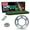 Sprockets & Chain Kit RK 525 XSO Green HONDA VT 750 Shadow Spirit 01-07