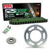 Sprockets & Chain Kit RK 525 XSO Green HONDA XBR 500 42PS 85-86