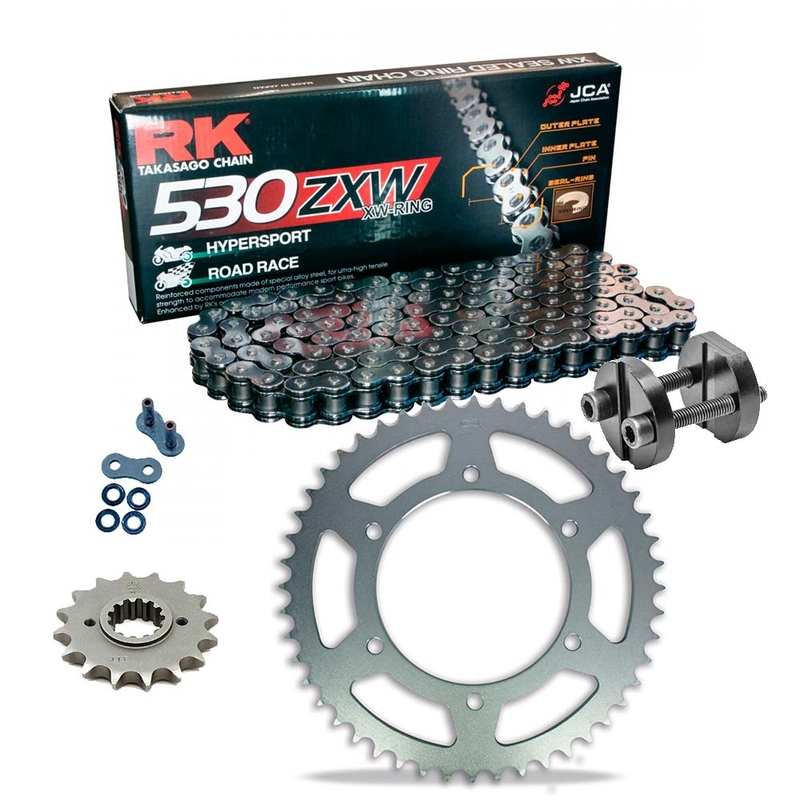 Sprockets & Chain Kit RK 530 ZXW Grey Steel HONDA CBX 750 84-86 Free Riveter