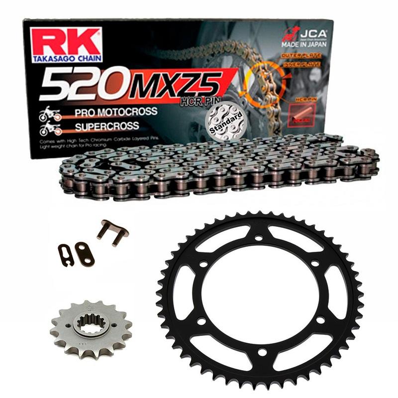 Sprockets & Chain Kit RK 520 MXZ4 Black Steel HUSABERG FC 400 4 MARCHAS 00-01