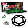 Sprockets & Chain Kit RK 520 MXZ4 Green HUSABERG FC 400 4 MARCHAS 00-01