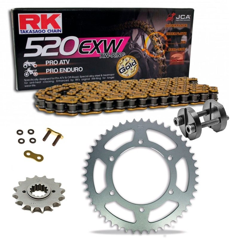 Sprockets & Chain Kit RK 520 EXW Gold HUSABERG FC 600 96-99 Free Riveter