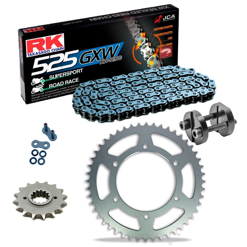 Sprockets & Chain Kit RK 525 GXW Grey Steel KAWASAKI ZX-10R Ninja 06-07 Free Riveter!