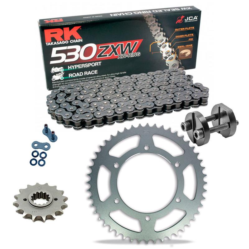 Sprockets & Chain Kit RK 530 ZXW Grey Steel SUZUKI GSX-R  Hayabusa 1300 99-07 Free Riveter