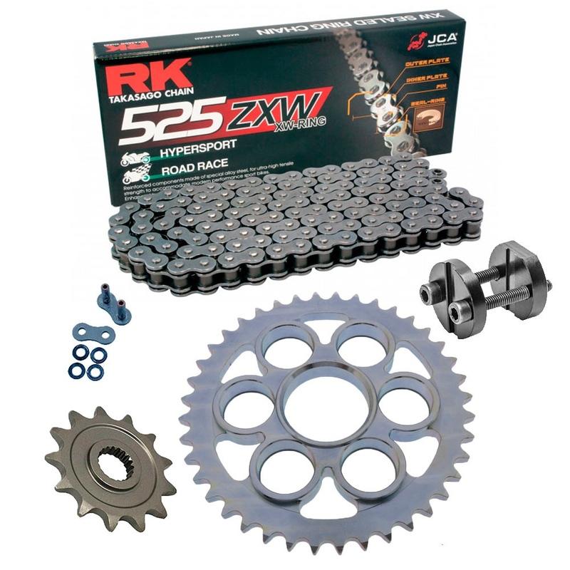 Sprockets & Chain Kit RK 525 ZXW Steel Grey DUCATI STREETFIGHTER 1100 V4 20 Free Rivet Tool!