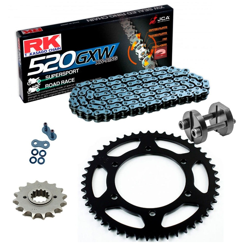 Sprockets & Chain Kit RK 520 GXW Grey Steel KTM DUKE 890 20 Free Rivet Tool!