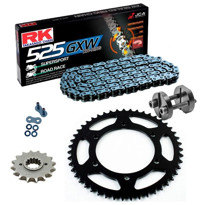 Sprockets & Chain Kit RK 525 GXW Grey Steel YAMAHA MT 07 TRACER 16-19 Free Rivet Tool!