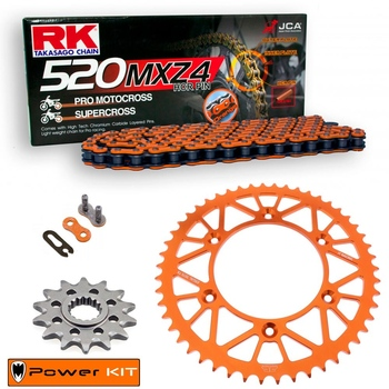 KIT DE ARRASTRE KTM 125 SX 95-21 Power Kit Aluminio 520 MXZ4 naranja
